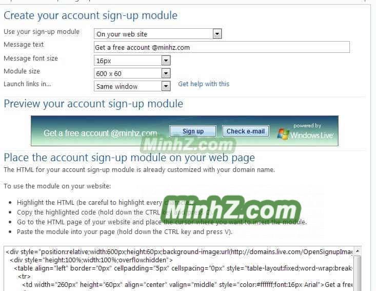 Windows Live Admin Center 12