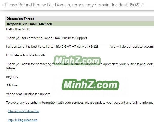Yeu cau refund tien domain tu yahoo