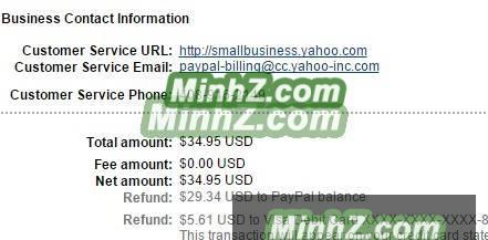 yahoo small bussiness refund