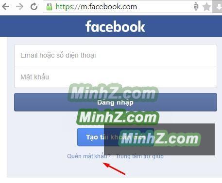 Click vào Quên mật khẩu